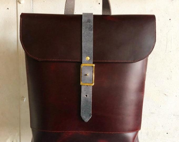 woven rucksack in burgundy and slate