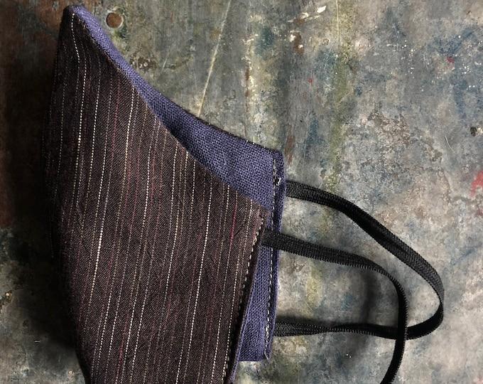 cloth mask in brown stripe and indigo