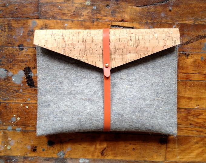 ipad case in tan cork, felt, and rubber