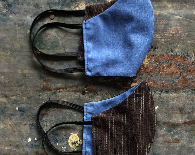 mask in light chambray and brown stripe