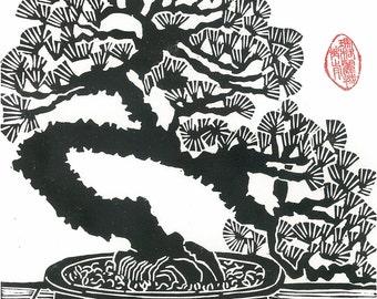 "Linocut Print - 9 1/2"" x 13"" Block Print - BONSAI PINE TREE - Japanese Miniature Pine Art"