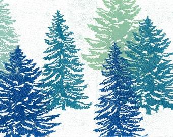 Linocut Print - WINTER FIRS -  Winter Wonderland Linoleum Block Print - 19x13 Lino Print