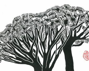 DRAGON TREES PRINT - Linocut Print - 9x13 Landscape Print - Black & White Print - Ready to Ship
