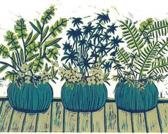 Reduction Linocut Print - The POTS on MY DECK - Garden Linoleum Block Print - 13x9 Lino Print