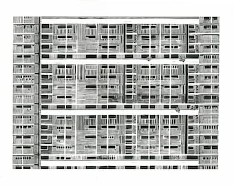 Large Linocut Print - Mid Century Modern Architecture in Singapore 26x19 Print