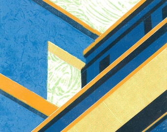 Singapore Linocut Print - STAIRCASE VOID 2 -  Mid Century Modern Apartment Block -19x26 Print - Ready to Ship