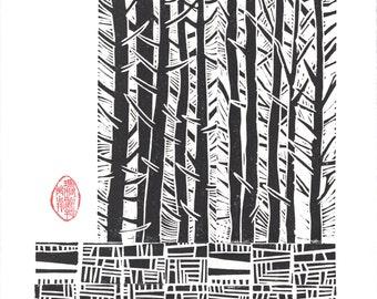 "Linocut Print - 9 1/2"" x 13"" Block Print - TREES & STONE WALL - Black and White Japanese Style Art - Linoleum Block Print"