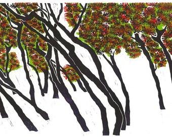 Linoleum Block Print - LEANING PINES - Italian Landscape Print - 13x19 Print - Ready to Ship