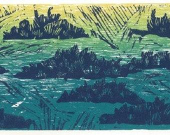 "Woodcut and Linocut Print - JUNIPER FIELD - Landscape Relief Print 15"" x 7 1/2"""