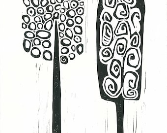 "MOD TREES 3 - Linoleum Block Print - Black & White Minimalist Print - Mid Century Decor 8""x10"" - Ready to Ship"
