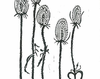 TEASELS Lino Print - Modern Botanical Print - 8x10 - Ready to Ship