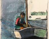 Original Miniature Monotype Print Sailing Opti Youth Sailor Art Belinda Del Pesco