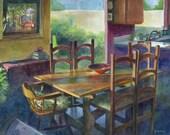 Original Watercolor Painting Interior Framed Kitchen Dining room Art Belinda Del Pesco