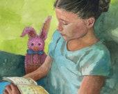 Original Watercolor Portrait Child Reading Books to a Bunny unframed painting Belinda Del Pesco