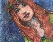 Original Color Monotype Miniature Portrait Print Pre-Raphaelite Style Woman Belinda Del Pesco