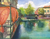 Les Terrasses -  L'Isle sur la Sorgue Cafe in Provence river watercolor painting Belinda Del Pesco
