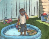 Little Boy Inflatable Pool Scuba Original Dry Point Etching Hand Painted with Watercolor - unframed - Belinda Del Pesco