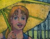 Original Color Collagraph Print Art Portrait of a Girl with an Umbrella on a Rainy Day Belinda Del Pesco