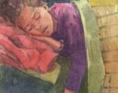 Original Color Monotype Miniature Portrait Print Sleeping Child Pendulum Dream Belinda Del Pesco