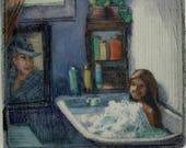 Bubble Bath Print Mini Drypoint with Watercolor Framed Original Bathtub Art Belinda DelPesco