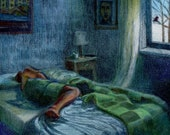 Original Drypoint Engraving of a figure sleeping in a darkened room Framed Color Print Belinda Del Pesco
