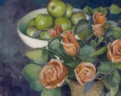 Original Watercolor Eucalyptus Roses Apples Still Life painting Living Room Art Belinda Del Pesco