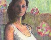 Betrothed Original Printmaking Art Portrait Figurative Color Monotype Print Belinda Del Pesco
