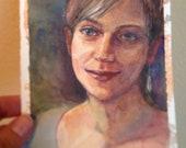 Watercolor Portrait Girl Original Illustration Art Painting Framed Belinda DelPesco