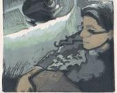 Woman with a Book by a window Linocut Original Print Belinda DelPesco