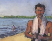 Original Framed Color Monotype Portrait Man on the Beach Art Jantzen Topper Belinda Del Pesco