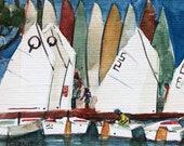 Original Miniature Sailboat Watercolor Painting Art Opti Launch Belinda Del Pesco