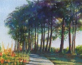 Original Landscape Painting Trees and a Path in Watercolor and Colored Pencil Belinda Del Pesco