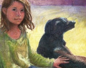 Original Hand Pulled Monotype Print A Girl and her Dog Fastened Belinda Del Pesco