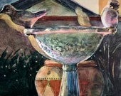 Original Still Life Watercolor of Reflections on Tile with Little Birds in the Kitchen Art Belinda Del Pesco