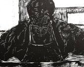 Original Woodcut Portrait Master Printmaker at Work Artist Studio Print Belinda Del Pesco