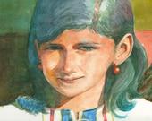 Original Unframed Watercolor Painting Portrait of a Girl Peach Summer Belinda Del Pesco