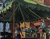 Music Art Original Color Linocut Bill Elliott Swing Orchestra Band Musicians Belinda Del Pesco