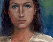 Original Small Watercolor Portrait of a Girl Slow It Down by Belinda Del Pesco