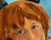Original Watercolor Portrait Painting Little Girl Wearing Cat Ears Let's Make a Plan Belinda Del Pesco