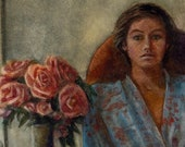 Original Framed Figurative Watercolor woman in a Kimono with Roses Portrait Art Belinda Del Pesco