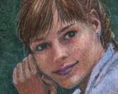Original Small Pencil and Watercolor Portrait of a Girl Study for Treble Clef by Belinda Del Pesco
