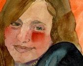 Original Painting Watercolor Portrait of a Young Girl Smiling Belinda Del Pesco