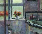 Original Monotype Print with Colored Pencil Bathroom Boutonnière Printmaking Art Belinda Del Pesco
