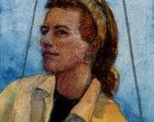 Original Miniature Watercolor Portrait of a Girl on a Sailboat in Yellow Belinda Del Pesco