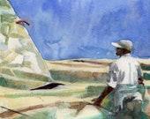 Flaking Sails - Framed Sailing Watercolor Painting original art Belinda Del Pesco