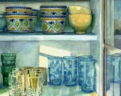 Original Watercolor Still Life Painting of Ceramic Bowls and Glassware by Belinda Del Pesco