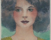 Kinship - Portrait of a Young Girl - Framed Color Drypoint with Watercolor Print Art Belinda DelPesco
