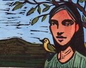 Woman with Bird Original Color Linocut Miniature Art Print Coming or Going Belinda Del Pesco