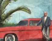 Vintage Chrysler 300 Original Dry Point Car Portrait Etching with Watercolor - unframed - Belinda Del Pesco