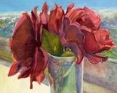 Original Framed Floral Rose Still Life Watercolor Painting Art Belinda Del Pesco